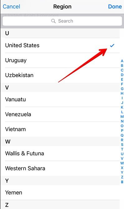 Select region on iPhone