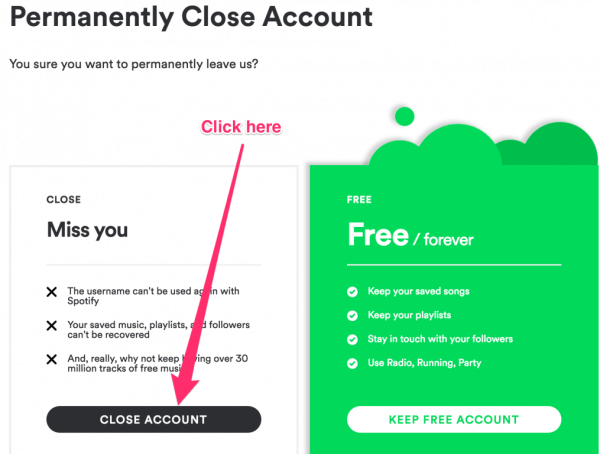 Choose to close Spotify Account