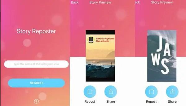 Story Reposter app