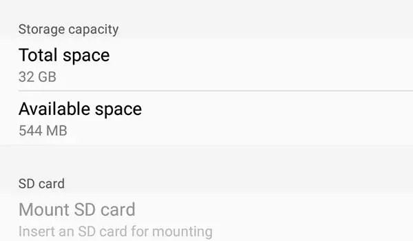 Google Play Store storage space