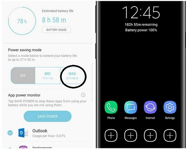 Galaxy S9 Battery modes