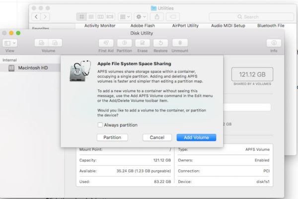 Create partition on MacBook OS