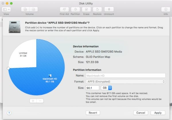 Create delete and merge partition on MacBook OS