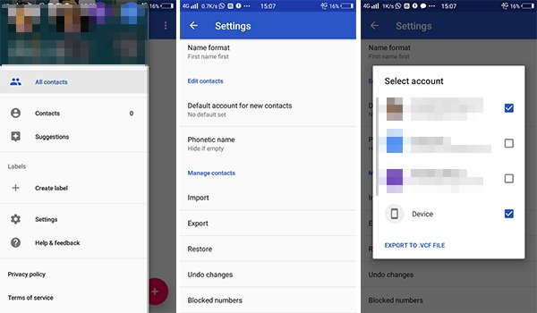 Export Contact using Google Contacts