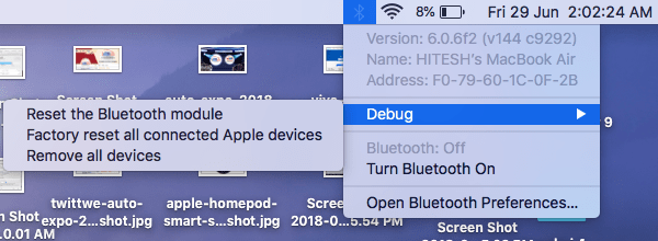 Apple MacOS Bluetooth Debug Option
