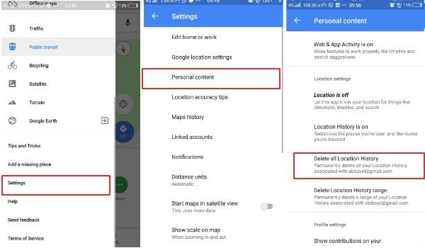 Clear all location history in Google Maps