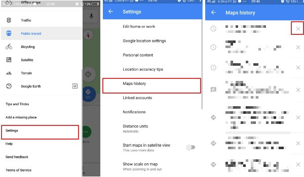 Clear individual history in Google Maps