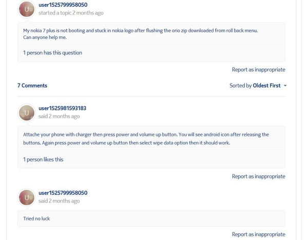 Nokia 7 issue not resolved in forum