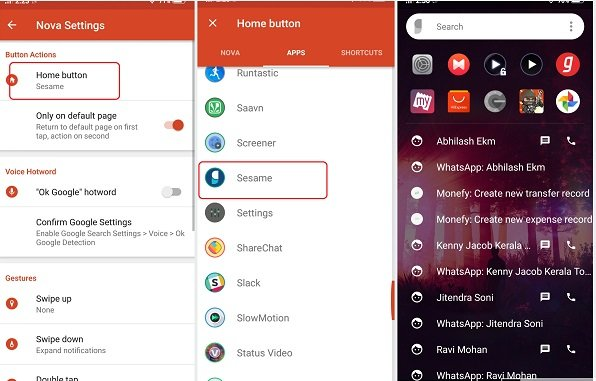 How to use Sesame add-on with Nova launcher for advanced