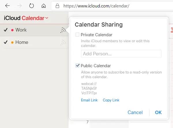 Share iCloud Calendar Public URL