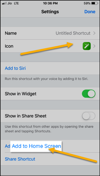 Add Shortcuts on iPhone Home Screen
