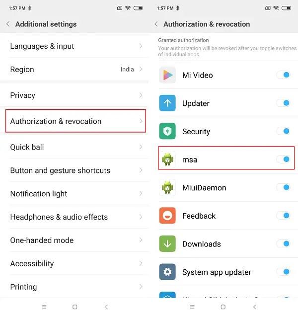 Disable MSA in Xiaomi Phones