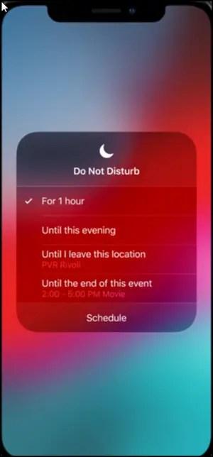 Do Not Disturb mode in iOS12