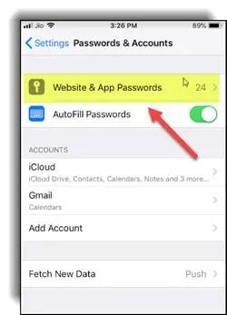 Share Website and app passwords