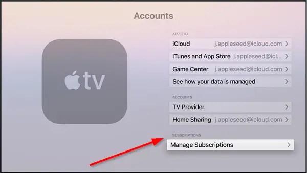 Apple TV Accounts Screen