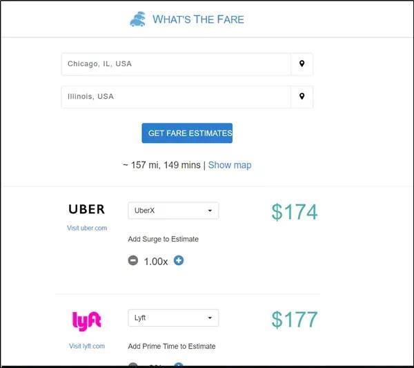 Compare Uber Pricing