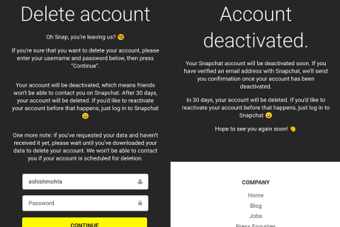 Delete Snapchat Account Final confirmation