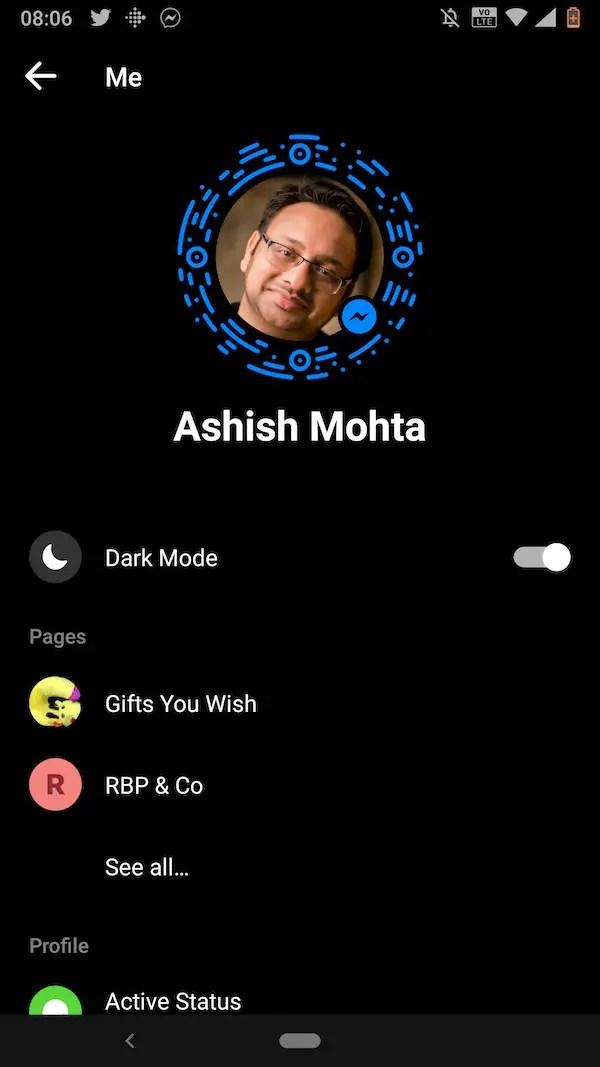 Enable Dark Mode in Facebook Messenger