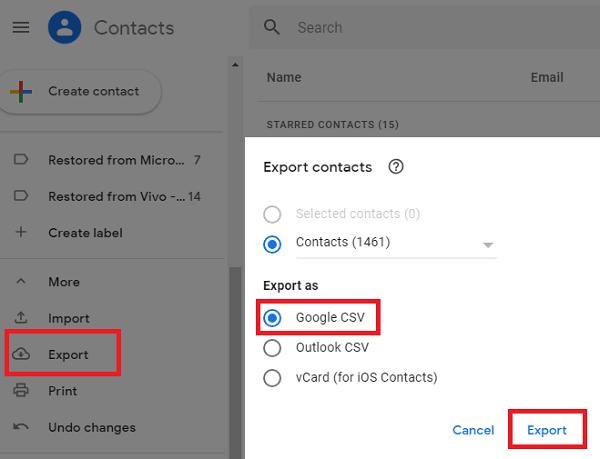 Google Contacts Export Option