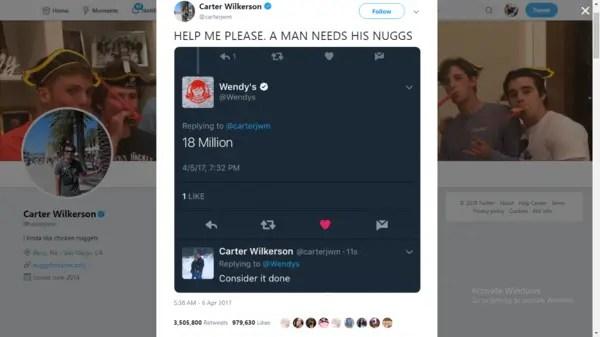 Carter Wilkerson's chicken nugget tweet