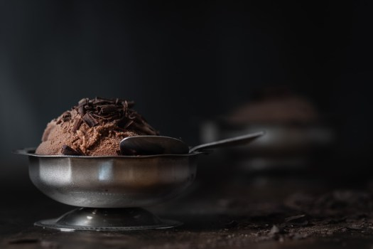 a dish of chocolate gelato