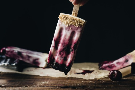 Cherry No Cheese Cheesecake Popsicle