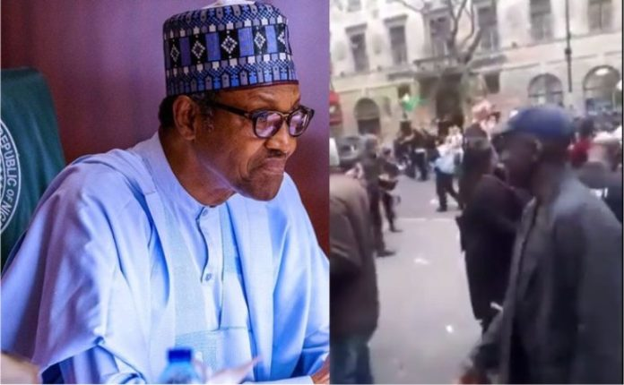 """Watch As Nigerians Chant """"Buhari is Dead Across The Streets Of UK"""