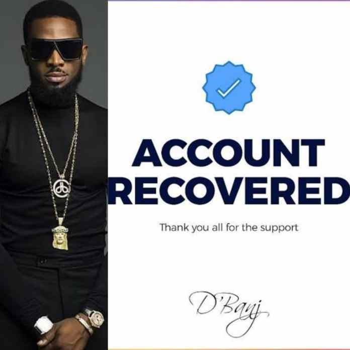 Finally, D'banj Recovers Hacked Instagram Account After 120 Hours