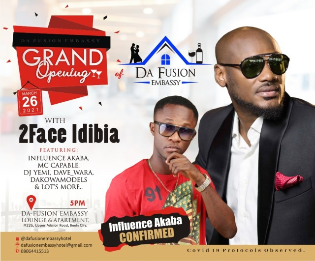 2face Idibia And Others To perform At The Grand Opening Of Da Fusion Embassy