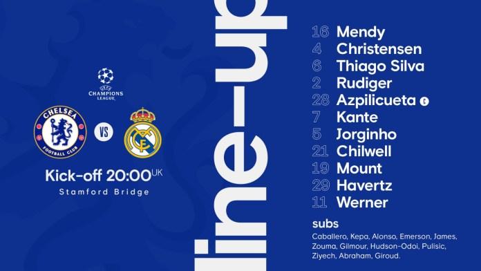 BREAKING: Chelsea Releases Team List Against Real Madrid - #CHERMA