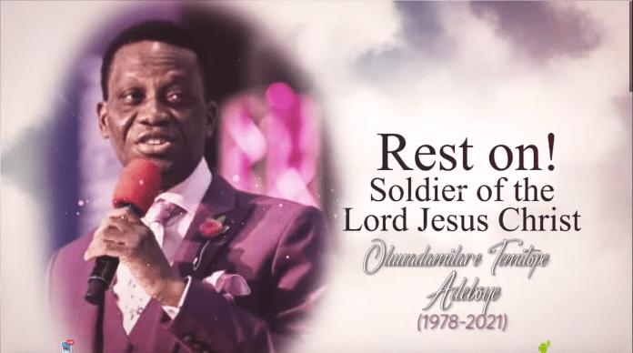 DARE ADEBOYE: Watch Live Burial Ceremony Of Pastor Adeboye Son Dare