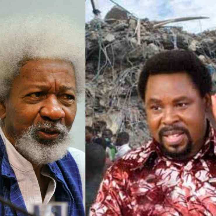 Rights Group Says Wole Soyinka Got It Wrong On TB Joshua's Trial----Nigeria's leading human rights movement, has said that Nobel Laureate Professor Wole Soyinka got it wrong on his calls that famous Pastor Temitope Joshua should be tried by the law court over the collapse of the Synagogue Church of All Nations.