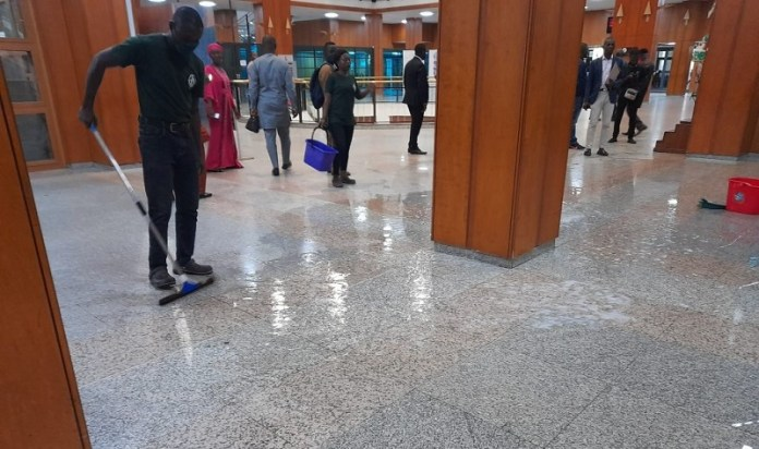 BREAKING: Watch As National Assembly Roof Leaks As Rain Falls During Senate Plenary