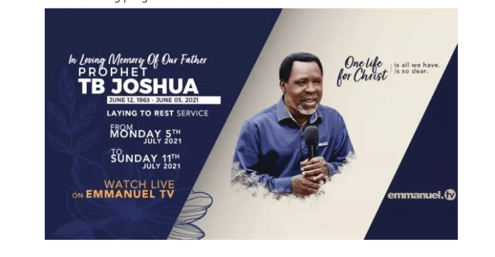 ITS OFFICIAL!!! Prophet TB Joshua's Funeral Rites To Run For 7 Days In July