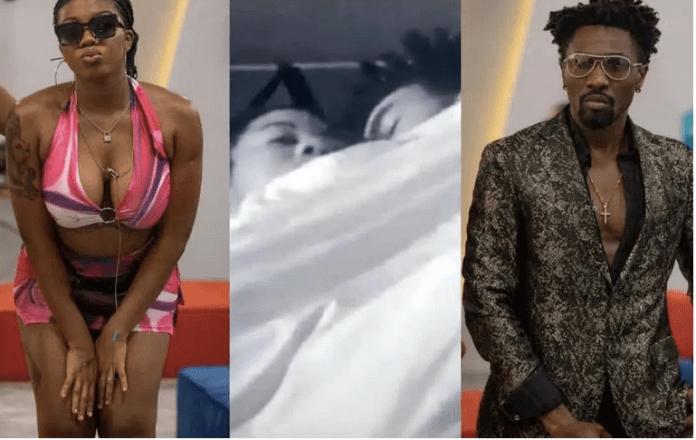 #BBNaija Angel And Boma Caught Under The Duvet Smooching Aggressively [VIDEO]