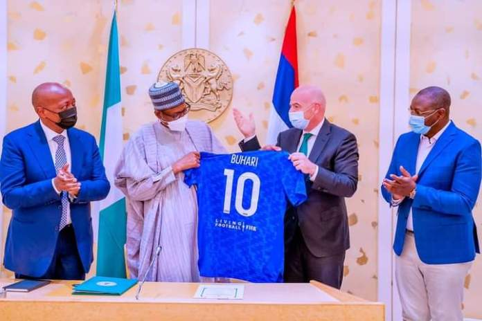 PMB Receives Iconic No 10 Jersey From FIFA And CAF Presidents [PHOTOS]