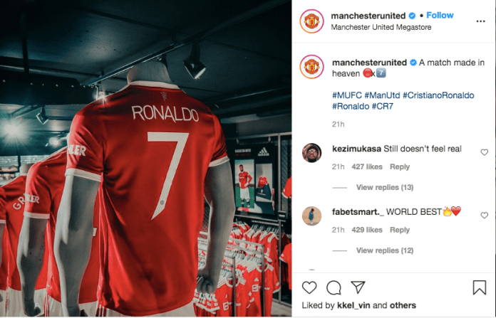Iconic No 7 Set New EPL Record As $60m Worth Of CR7 Shirts Sold In 12 Hours