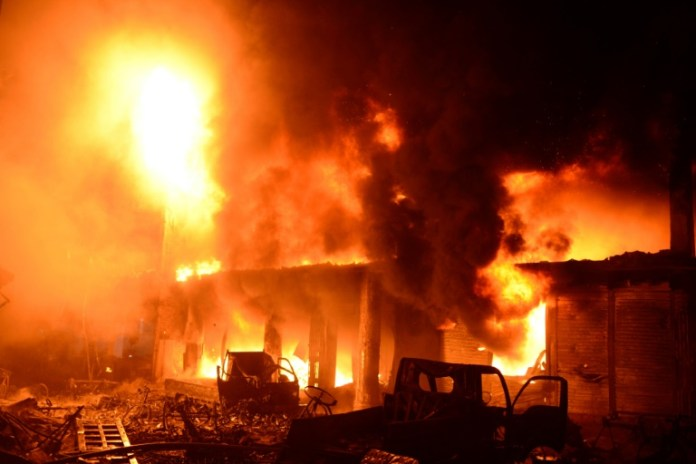 HAPPENING NOW!!! Watch As Fire Destroys Kano TV Station At #NigeriaAt61