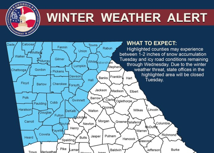 Georgia Waits for Snow: Weather updates and closings