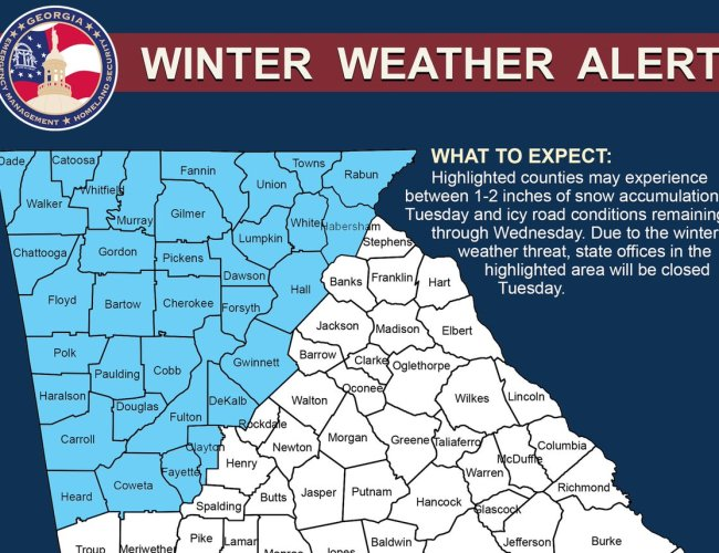 Snow Update: Kemp orders state offices closed on Tuesday