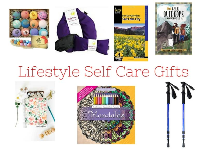 Lifestyle Self-Care Gift Ideas including bath bombs, daily planner, hiking gifts, coloring book.
