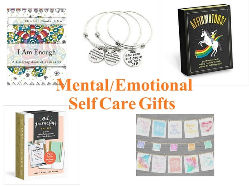 Mental and Emotional Self-Care Gift Ideas including affirmation cards, inspiring artwork, bullet journaling kit, jewelry and coloring book.