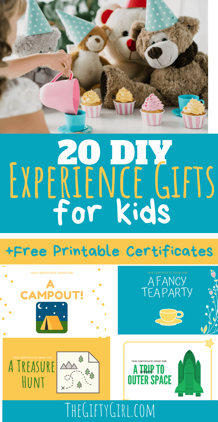 Experience Gift ideas are a great alternative gift that cuts down on clutter, but they get expensive. Check out this post on 20 DIY Experience Gift ideas for kids that are cheap or free. This includes free printable gift certificates to make giving these experience gifts for kids fun! #thegiftygirl #creativegifting #thoughtfulgifting #giftideas #experiencegiftideas #experiencegift #giftsforkids #giftguides #freeprintables #printablesforgifts