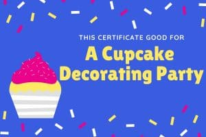 cupcake decorating printable experience gift for kids