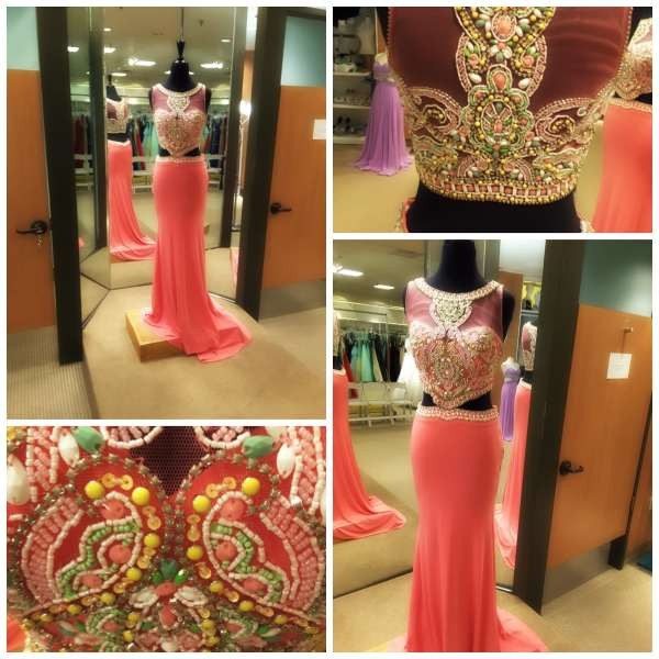 The Gilded Gown - Knoxville TN - Two Piece Prom - Mon Cheri 2016 coral 1