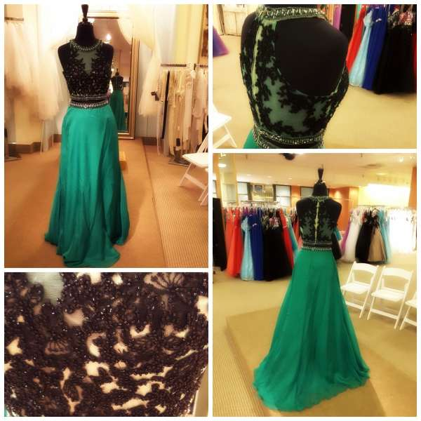 The Gilded Gown - Knoxville TN - Two Piece Prom - Mon Cheri 2016 green 1