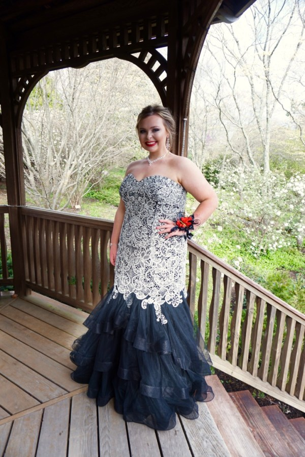 835a4d25d1c Magnificent Mackenzie Timson looked amazing in her spaghetti strap lace gown  at Stone Memorial High School s prom.