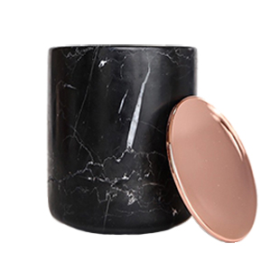 Black Marble Candle Copper Lid