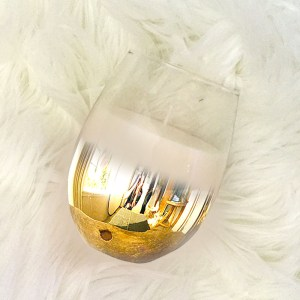 Ombre Gold Stemless Wine Glass Candle