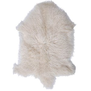 White Mongolian Sheepskin Throw Rug - Small